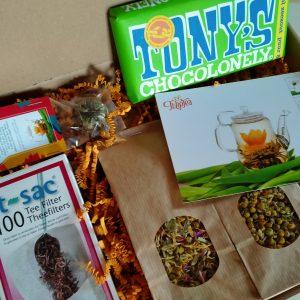 Theeproeverij met chocolade - Vegan - Tony chocolonely - brievenbuspakketje - Bloementhee, Theebloemen, Thee pakket - Thee geschenk